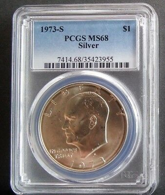 1973 S $1 PCGS MS68 Silver highly graded Silver Eisenhower Dollar low pop Coin