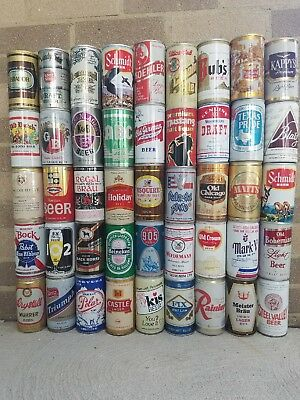 Vintage beer cans lot of 45.  Opened from bottom