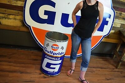 NOS 1969 Gulf Formula G TRASH CAN SIGN GAS STATION OIL Ford GT Lemans Mustang