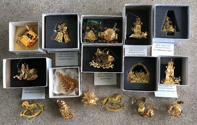 Vintage Danbury Mint 23kt Gold Annual Christmas Ornaments Lot Of 16 w/ Boxes