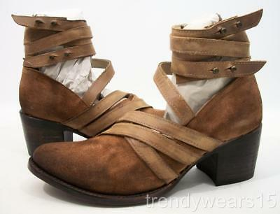 Fast Ship! Nwb! Sz 7 Freebird By Steven Grind Tan Multi Suede Strappy Ankle Boot