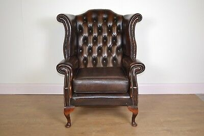 Leather Chesterfield Wing Back Chair