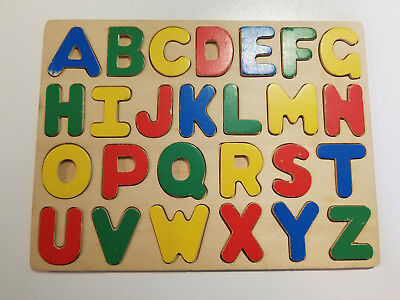 ABC Wooden Puzzle Alphabet Children Learning Educational Toy Letters - 26 piece