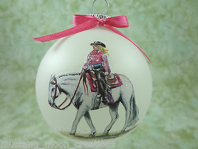 H043 Hand-made Christmas Ornament- horse -QH quarter horse western pleasure pink