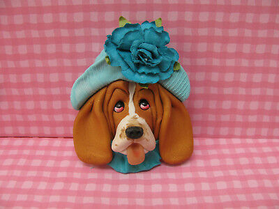 Handsculpted Red Basset Hound in Aqua Hat with Flower Lapel Pin