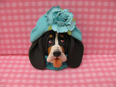 Handsculpted Black Basset Hound in Aqua Hat with Flower Lapel Pin