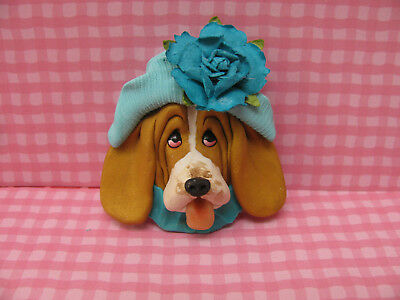 Handsculpted Gold Basset Hound in Aqua Hat with Flower Lapel Pin