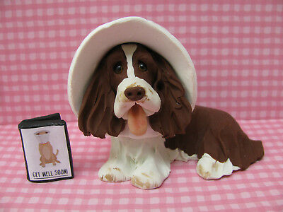 Handsculpted L/W English Springer Spaniel Cone of Shame & Get Well Card Figurine