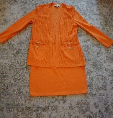 St John Collection By Marie Gray Knit Suit Jacket Skirt Orange Sz 8