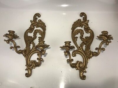 Pair Vintage Gilt Solid Brass Candle Wall Sconce ROCOCO French Double Arm Bronze