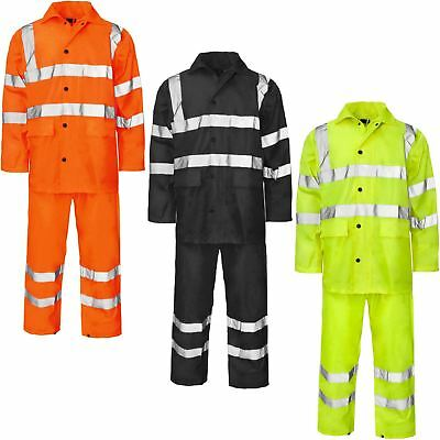 High Visibility Hooded Puddle Rainsuit Waterproof Pvc Worker Jacket+Trouser Set