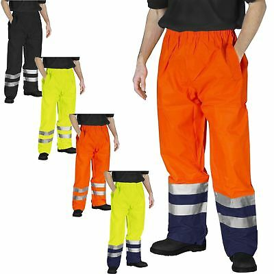 High Visibility Waterproof Trousers Rain Over Protector Elasticated Viz Pants