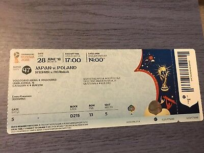Used Match Ticket WM Worldcup 2018 # 47  Japan Poland Nippon Polen MINT