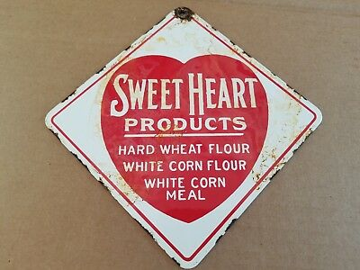 Sweet Heart Product Porcelain Sign Wheat Corn Meal Flour Vintage Cook Bake Old