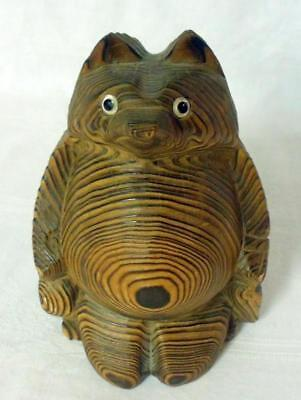 AT&T Bell System Hand Carved Japan Cryptomeria Wood Raccoon Souvenir 1962 Sgnd