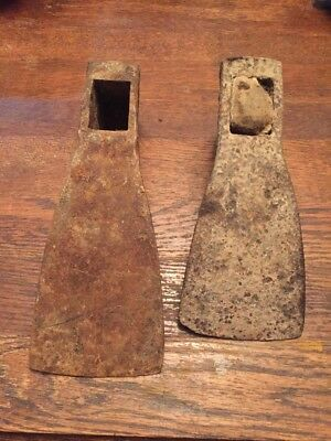 "Vintage Antique? Lot Of 2 Large Adze Heads Makers Marks Not Searched 11"" 9"""