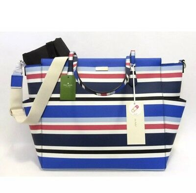 Kate Spade Kaylie Laurel Way Baby Diaper Bag Printed Striped Tote $329 Nwt