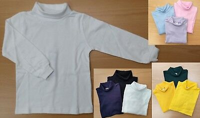 Kids Boys Girls Unisex Cotton Skivvy Long Sleeve Top School Uniform