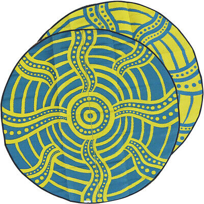 Plastic Outdoor Rug | ABORIGINAL Design, Round Charity Mat in Yellow and Green