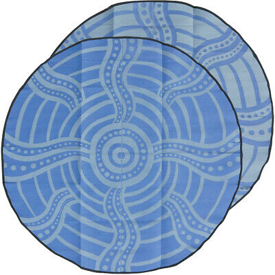 Plastic Outdoor Rug | ABORIGINAL Design, Round Charity Mat in Grey and Mauve