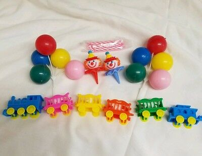 Vintage Circus Train Birthday Cake Topper with Candles, Clowns, and balloons NIP