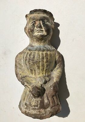 Unusual Roman Polychromed Terracotta Figure of a Man in Tunic with a Hat