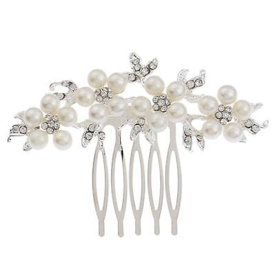 Women's Fashion Flower Design Simulated Pearl Bride Comb Romantic Bride Hai B5Z9