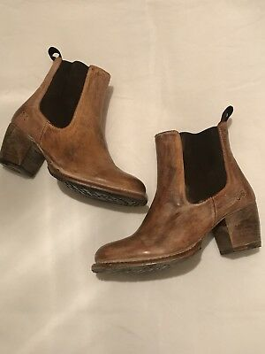 Bed Stu Sonic Cobbler Series Booties Boots Size 8 Tan Distressed Leather