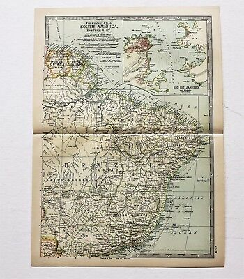 1906 South America Map Brazil French Guiana Dutch Guiana Routes ORIGINAL