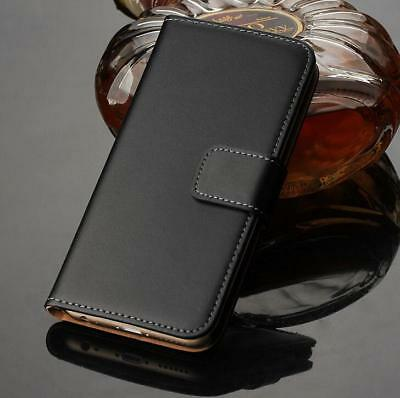 For Sony Xperia Experia Genuine Real Leather Flip Black Stand Wallet Case Cover