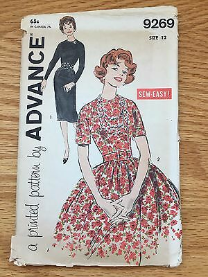 1960s ADVANCE SEWING PATTERN 9269 MISSES SLIM AND FULL SKIRT DRESS  12