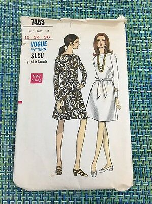 1960s Vogue Sewing Pattern 7463 Misses Sheath Dress Sz 12 cut