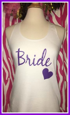 NEW size M misses white purple bride tank top bachelorette tank top bride to be
