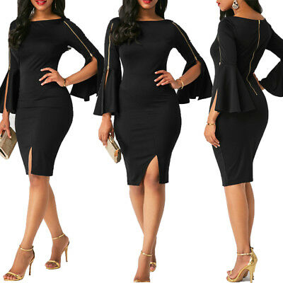 Women Bandage Bodycon Casual Flare Sleeve Evening Party Cocktail Club Mini Dress