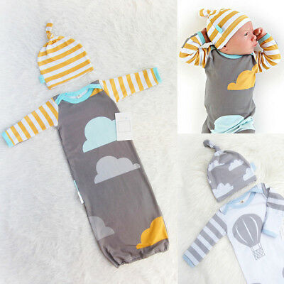 UK STOCK Newborn Baby Infant Swaddle Wrap Blanket Sleeping Bag Sleepsack + Hat