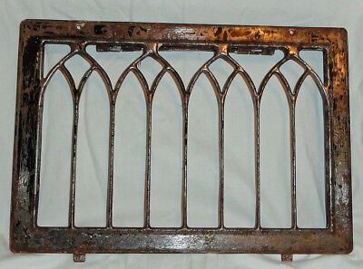Antique pressed steel furnace duct wall grate vent cover gothic