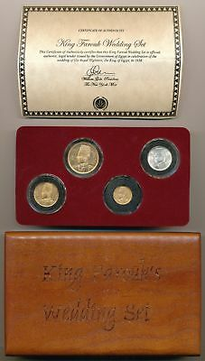 Egypt, 1938 Kg Farouk Royal Wedding Gold Set In Original Certified Mint Case. Rr