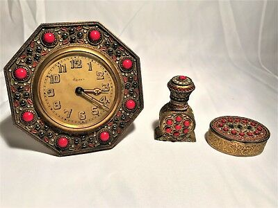 Art Deco 8 Days Clock with Compact & Perfume Holder Brass Filigree Enamel Coral