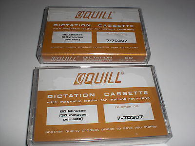Lot of Two Quill Dictation Cassettes 60 Minutes 7-70307 - New