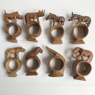 Lot of 8 African Safari Animals Hand Carved Wood Napkin Rings Vintage