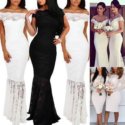 Elegant Women Sheer Lace White Lace Mermaid Wedding Ball Gown Evening Long Dress