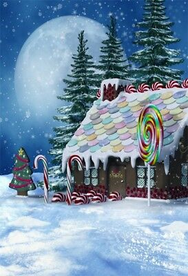 Christmas Winter Snow Candy House 6x8ft Photography Backgrounds Backdrops Props