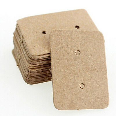 Pack/100 Pcs Jewelry Ear Studs Hanging Display Kraft Earring Cards 2.5x3.5CM