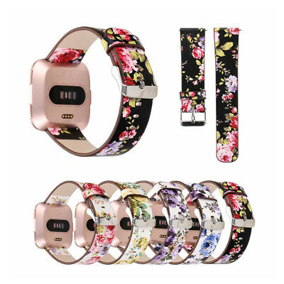 Floral Pattern Genuine Leather Watch Strap Wrist Band Buckle For Fitbit Versa