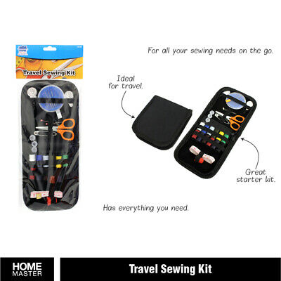 Travel Sewing Kit with needles pins thread buttons scissors in black zip-up case