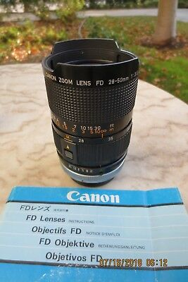 Canon Zoom Lens Fd 28-50 Mm 1:3.5 S.s.c. With Booklet