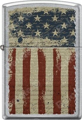 Zippo Aged American Flag Patriotic Worn And Weathered Street Chrome Lighter NEW