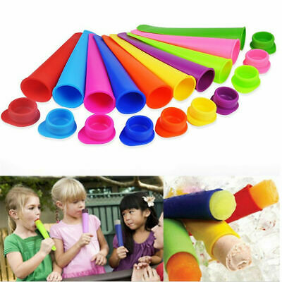 8PCS Ice Cream Mold Push Up Ice Cube DIY Lolly Mould Silicone Tray Pop Maker