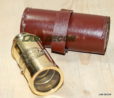 Antique Brass Telescope W Leather Case Royal Navy Nautical Collectible Maritime