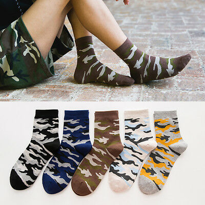5 Pairs Mens Camouflage Cotton Socks Lot Funny Camo Casual Dress Short Socks